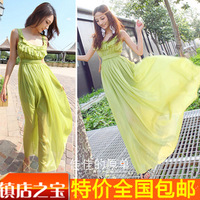 Casual sexy fashion dresses 2013 summer beach dress faux silk chiffon one-piece dress full dress