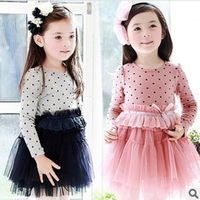 2013 spring girl dress  cotton dress  for girls circle dot lace long-sleeve children clothing  kids party dress skirt for girls