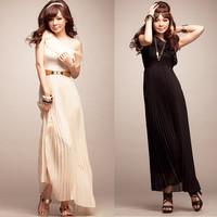 free shipping 6211 fashion new oblique lotus leaf chiffon maxi long lady dress