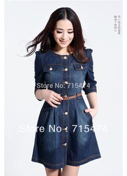 Brand Newest,Vintage Fashion Women's Denim Dresses ,Popular Lace Neck Ladies' Dress Casual workwear ,2013 summer Free shipping