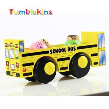 Tumblekins series child toy car wooden car model bus school bus
