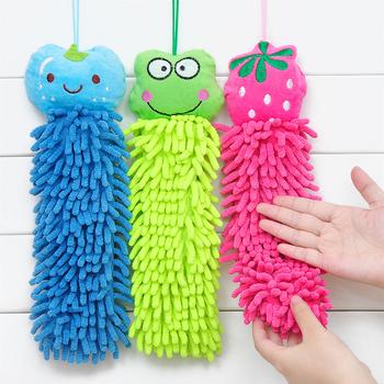 (Min order is $10) Cartoon animal hanging towel derlook slitless chenille towel hand ...
