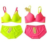 Victoria vs neon color candy color block push up underwear bra set