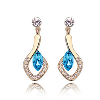 2014 Hot sales Quality crystal stud earrings rhinestone earrings 18k rose gold plated jewelry wholesales free shipping