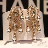 Min.Order is $25,(Mixed order)  Gorgeous Crystal Rhinestone JC Chandelier Drop Earrings Chunky for Women Gold Fashion Jewelry
