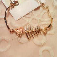Free Shipping Fashion Fish Bone Bracelet New Women/Girl's rose Gold  Bracelet Bangle Gift Jewelry