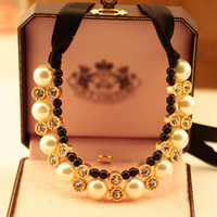 Min Order 15$ Free Shipping 2013 Newest Vintage Style Big Imitate Pearl Necklace Choker Good Quality Wholesale Hot HG0333