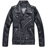 True Brand  2013 autumn and winter Men Halley Motorcycle Leather Jacket Rock ware  PU-leather Black Fashion