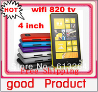"Free shipping Newest 4.0"" Touch Screen Quad Band Dual SIM 820 TV WIFI Mobile Phone"