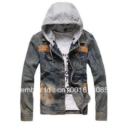 Top Quality Men's VINTAGE CLASSIC Denim Hooded Jean Jacket Hoody Coat Detachable Cap(China (Mainland))