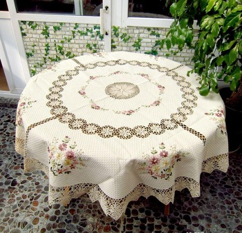 Free shipping 70 inch Round Ribbon Embrodery  Table cloth / Table cover   with crocheted trim  - diameter : 176 cm