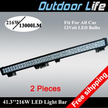 2 pieces new model 216w 40'' length 13000 lumen led turck off road 4wd light bar  white light 12 volt light bar for jeep 4x4 4WD