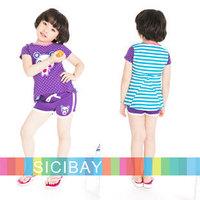 Free Shipping 2014 Summer Beach Clothing Girls Dots Sets Cartoon Tshirts + Hot Shorts  K0425