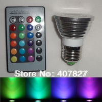 E27 3W Color LED RGB Spot Light Bulb 85-265V + 24 Keys Remote Memory Function Free Shipping