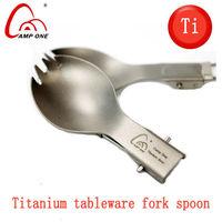 ultra-light high quality titanium tableware titanium fork spoon folding portable Camping Hiking tableware