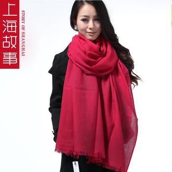 Autumn and winter ultra long 230cm 75cm thermal female pure wool solid color scarf cape