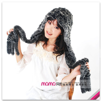 Quality fur hat scarf handmade rex rabbit hair knitted thermal cap