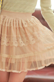 Sweet fresh wind vintage princess lace decoration chiffon gauze bust skirt short skirt nude color