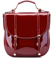 Wine red patent leather japanned leather bag for women women's handbag fashion shiny women's handbag messenger bag big bags bag
