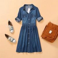 Plus sizes New Fashion Ladies' blue denim dress,Slim women's casual jeans dress women's denim dresses free shipping H334