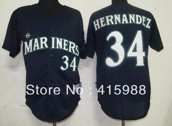 Free shipping,Wholesale baseball jerseys Seattle Mariners #34 Felix Hernandez white/grey/dark blue cool base jersey,size48-56