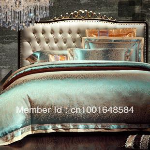 Luxury 4pcs Noble SILK COTTON BLEND Jacquard QUEEN AND King SIZE bedding set/Bed Linen /Duvet Cover /Bed Sheet/COMFORTER SET
