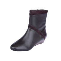 free shipping  brief comfortable genuine leather cowhide low-heeled boots 31914