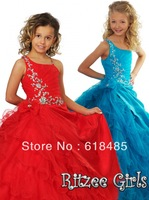 Free shipping 2013 Asymmetric Neckling Princess Ball Gown Ruffle Tiered Organza Satin Girl Pageant Dress Flower Girl Dresses