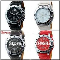 Time 9332 Fashion Leather Oversized Men Sport Date Hour Clock Quartz Wrist Watch Free shipping