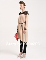 2013 newest free shipping Turn-down collar  the west popularest  chiffon and lace patchwork woman dress