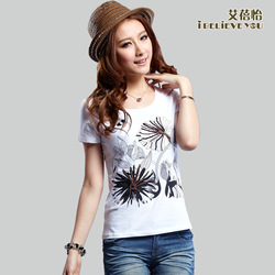 2013 women's summer short-sleeve 100% cotton black and white painting plant white b43(China (Mainland))