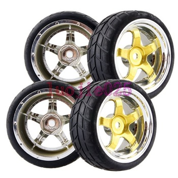 4PCS RC 1/10 On Road Car Rubber Foam Racing Tires Tyres & Wheel Rim 9001-6083