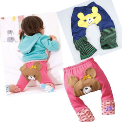 Toddler Infant Baby Girl Cute Bear Strawberry Pink Legging PP Pants Socks Pants(China (Mainland))