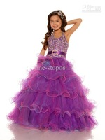 2013 One-stopos Sexy Halter New Organza Belted sequined Ball Gown Flower Girl Pageant dresses 81599S