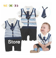 2013 summer cool baby rompers turn-down collar with a tie baby boys bodysuits infant fashion wear 1 piece retail