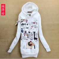2013 women's plus size cartoon fleece thickening medium-long sweatshirt outerwear a