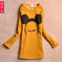 2013 cartoon velvet thickening medium-long long-sleeve o-neck sweatshirt a22191 slim female