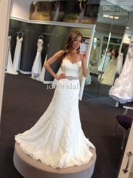 2013 New Arriva Strapless Strapless A-line Crystal Sexy Lace Wedding Dress Bridal Gown