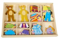 2013 Free shipping,Funny Toy Colorful Educational Wooden Toy Magnetic Puzzle Bear Changing Cloths,Children' Gift