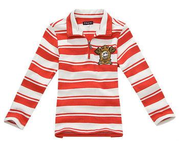 Wholesale 5 pcs Spring Autumn  red yellow Children boy Kids baby long sleeve striped cotton polo t shirt children top PDQZ01P11