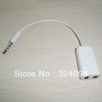DHL Free shipping  500pcs/lot 3.5mm Male to Dual Female Audio Split Adapter  cable For iphone/ipod/ipad/mp3/mp4/phone