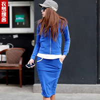 Clothing 2013 spring long-sleeve casual set sports set sweatshirt dresses yz04