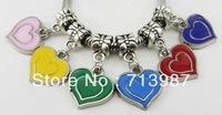 50pc wholesale Fashion DIY Charm DIY Big hole Skull oil drip Heart Pendant CCB dangle bead fit Euopean bracelet  Bangle Jewelry
