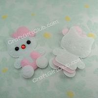 60 Pink Kitty Cat Felt Applique Scrapbooking Sewing Craft Favor 6cm x 4cm