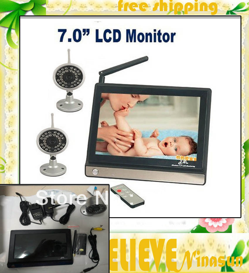 "Original 7"" wireless baby monitor with 1pcs outdoor wireless camera baby camera(China (Mainland))"