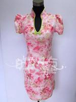 Free Shipping Romantic rose pink jacquard cotton fashion short  cheongsam dress   the bride  qipao