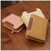Fashion brief female wallet stitch cowhide short design cute small bag card holder wallet