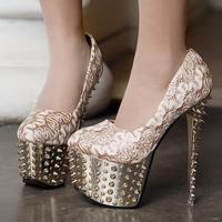 New spark shiny riverts punk lace sweety 2013 women's fashion sexy 16cm high-heeled wedding shoe platform women single shoes