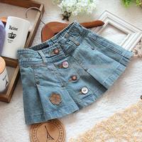 Free shipping Retail new 2014 spring autumn baby denim skirts girls summer jeans skirts kids casual ruffle mini petti skirt