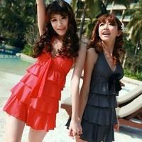 Split layered dress swimwear female big hot spring swimsuit